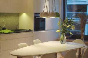 Projekt aranżacji wnętrza aneksu kuchennego w mieszkaniu w Warszawie