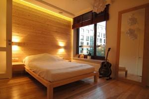 Projekt aranżacji wnętrza sypioalni w mieszkaniu w Warszawie