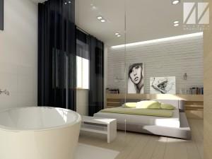 projekt sypialni z salonem lazienkowym